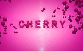 Картинка вишня, ягоды, розовый, надпись, черри, шерешня