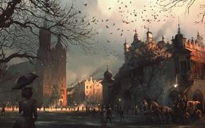 Картинка город, арт, церковь, живопись, польша, Warsaw