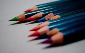 Обои цвет, карандаши, цветные, макро, рисование