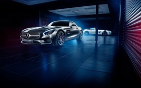 Картинка Roadster, Mercedes-Benz, SLS, AMG, Side, GT S, White, Grey, Front, Supercars