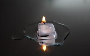 Картинка огонь, свеча, лёд