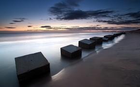 Картинка море, пейзаж, плиты, England, Blyth