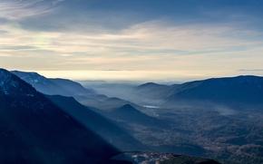 Обои лес, долина, панорама, рассвет, горы, озеро