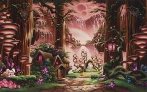 Картинка лес, девушка, деревья, бабочки, закат, цветы, горы, грибы, водопад, сказка, радуга, фэнтези, арт, дорожка, фонарь, ...