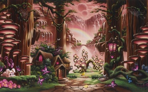 Картинка цветы, радуга, flowers, горы, арт, Christopher Pollari, кролики, Rainbow cottage, art, girl, sunset, trees, домик, ...