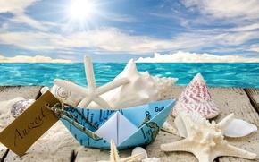Обои seashells, starfishes, beach, sea, sunshine, ракушки