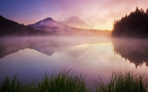 Картинка трава, горы, туман, озеро