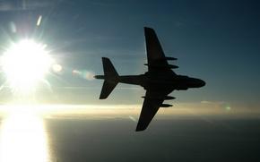Картинка море, солнце, Самолет