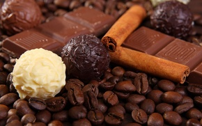 Обои шарики, корица, шоколад, черный, зерна, белый, кофе