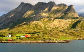 Картинка горы, река, берег, Норвегия, домики, Нурланн Рёдёй