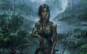 Обои Девушка, Дождь, Лук, Tomb Raider, Джунгли, Art, Lara Croft