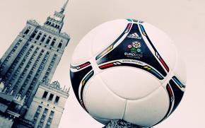 Картинка знак, футбол, мяч, здание, часы, окна, башня, логотип, кожа, Варшава, евро, эмблема, 2012, adidas, фирма, ...