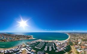 Обои небо, солнце, город, океан, побережье, дома, лодки, горизонт, Австралия, панорама, залив, Mandurah