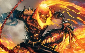 Картинка fire, skull, flame, Ghost Rider, Marvel, comics, hell, blaze, byke