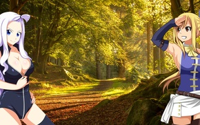 Картинка Лес, Аниме, Anime, Lucy, Мира, Mira, Люси, Forest, Fairy tail, Хвост феи