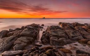 Картинка камни, океан, рассвет, берег, вид, яхта, горизонт