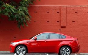 Картинка машины, красный, стена, bmw