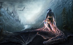 Картинка горы, мост, река, драконы, воин, арт, душа, Skyrim, The Elder Scrolls V, Dovahkiin