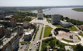 Картинка лето, город, река, фото, улица, дома, церковь, Амур, Хабаровск