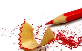 Картинка красный, карандаш, стружка