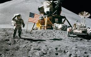 Картинка луна, скафандр, астронавт, Аполо