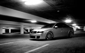 Картинка Audi, ауди, парковка, серая, tuning
