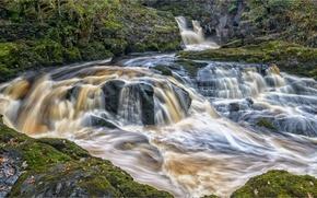 Картинка камни, Англия, каскад, England, Северный Йоркшир, North Yorkshire, Ingleton Waterfalls Trail, Ingleton, Инглтон, Beezley Falls