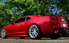 Картинка авто, красный, camaro, chevrolet