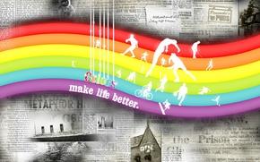 Обои цвет, радуга, газеты, Color make life better
