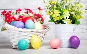 Картинка цветы, яйца, пасха, разноцветные, flowers, Easter, eggs