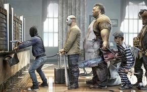 Обои ограбление, роба, бита, маска, пират, рендер, маньяки, юмор, сумка, банк, бензопила, зэк, клиенты