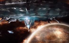 Картинка космос, планета, D.S.E., sea of flames