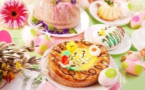 Картинка яйца, пасха, кулич, flowers, spring, eggs, easter, сервировка, Easter cake