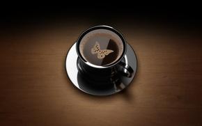 Обои бабочка, пенка, кофе, чашка