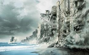 Картинка море, город, разрушения, начало, inception