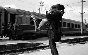 Картинка любовь, поезд, объятья