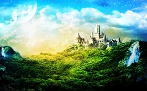 Обои облака, деревья, 151, замок