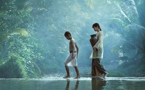 Обои вода, дети, река, ручей, мальчик, деревня, джунгли, девочка, girl, кувшин, jungle, water, идут, boy, village, ...