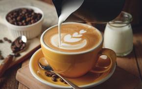 Картинка кофе, сливки, пенка