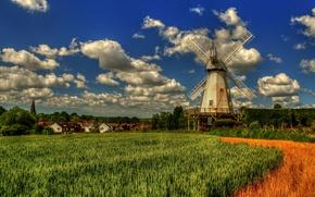 Картинка поле, облака, Англия, Кент, деревня, мельница, England, Kent, Вудчерч, Lower Mill, Woodchurch