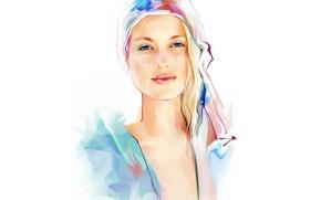Картинка взгляд, блондинка, Tatiana Nikitina, нарисованная девушка, Татьяна Никитина