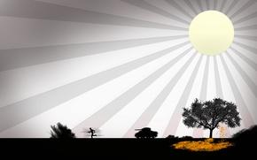 Картинка солнце, дерево, война, танк
