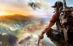 Обои Закат, Небо, Облака, Горы, Дым, Оружие, Ubisoft, Призрак, Вертолёт, Южная Америка, Экипировка, Ubisoft Entertainment, Ghost ...