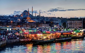 Картинка City, Wallpaper, Istanbul, Turkey, Boats, Canal