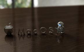 Обои размытость, стол, mac os, робот