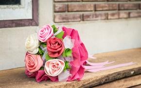 Картинка цветы, фон, widescreen, обои, нежность, розы, букет, размытие, ткань, wallpaper, цветочки, атлас, широкоформатные, flowers, background, …