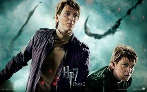 Картинка взгляд, сражение, близнецы, Harry Potter, Джордж, Фред, братья Уизли, Битва за Хогвартс, Гарри Поттер и …