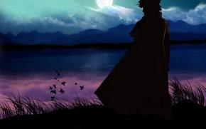 Обои луна, naruto, namikaze minato, озеро, горы, утес