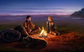 Картинка девушка, ночь, пламя, костер, арт, мужчина, эльфийка, рюкзак, anndr