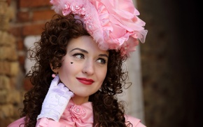 Картинка девушка, улыбка, стиль, фон, костюм, карнавал